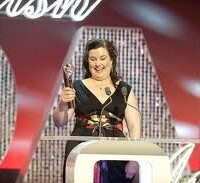 Patti Clare - Mad Mary - collects her award this week.
